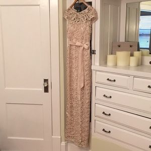 Adrianna Papell Almond Formal Lace Dress